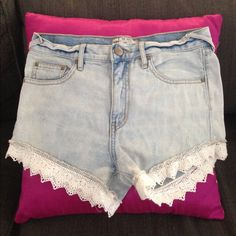 Free People high waisted denim shorts lace trim 26 Free people high waisted denim shorts. Lace trim. Light washed. Light factory distressing. Super cute! Size 26. The button tabs on the back pockets (you know the little metal things on the corner pockets). Only 1 is left attached, but this does not effect the wear of the pockets and it is just the head of the tabs that are missing. I didn't even notice until a fellow posher pointed it out. Super cute and that is the only flaw and it's not…