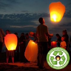 Eco Wish Lanterns. Constructed with a thinbamboo frame and rice paper to complete the lantern, along with a woollen fire proof fuel cell cover. No wire! 100 for $289.99
