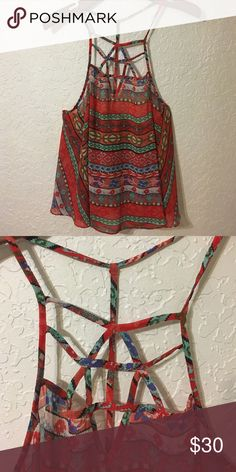 LF Strappy Tribal Top LF. Millau. Red, strappy, tribal print, low back top. Size M. LF Tops