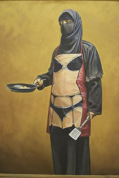 Banksy. this photo represents stereotypes of women. on a religious base