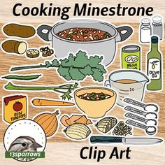 Cooking Minestrone Clip Art is a collection of twenty-six original drawings of the ingredients you need to make some minestrone soup and some instructional illustrations for guidance. It is the first in a series of children's cooking illustration collections. 13sparrows
