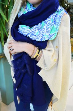 Make it a double! Wrap two Lilly Pulitzer scarves together.