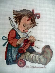 """Knit One, Purl Two"" Hummel cross stitch design"
