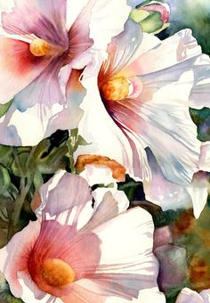 Lush flowers with lovely light. ( Hollyhocks, watercolor by Paula Wadsworth) Watercolour Painting, Watercolor Flowers, Painting & Drawing, Watercolors, Watercolor Portraits, Watercolor Landscape, Watercolor Artists, Illustration, Arte Floral