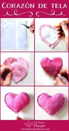 corazones de tela rellenos