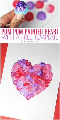 pom pom painted heart craft for kids with a free template Valentine's Day Crafts For Kids, Valentine Crafts For Kids, Valentines Day Decorations, Craft Stick Crafts, Diy Crafts, Valentines Day Book, Valentine Activities, Heart Template, Pom Pom Crafts