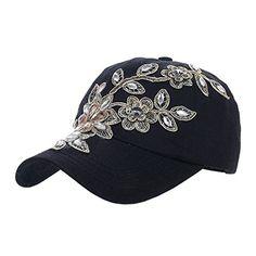 0dd76f62909 Yimidear Womens and Girls Fashion Denim Summer Spring Autumn Cotton Flower  Pattern Rhinestone Baseball Adjustable Cap