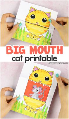 Surprise Big Mouth Cat Printable Crafts for Kids, Coloring pages, How to Draw TutorialsSurprise Big Mouth Cat PrintableWho is a nice kitty? Our Surprise Big Mouth Cat Printa Diy Crafts Easy At Home, Fun Arts And Crafts, Easy Paper Crafts, Paper Crafts For Kids, Cat Crafts, Arts And Crafts Projects, Arts And Crafts Supplies, Preschool Crafts, Diy Crafts For Kids