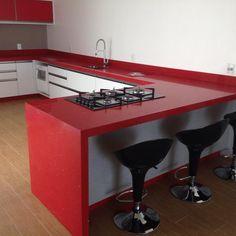 Bancada de Cozinha em Compacstone Red