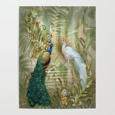 Vintage Royal Peacock Temple Dreams Poster by justkidding #Poster #graphicdesign #graphicdesign #peacock #white #buegree