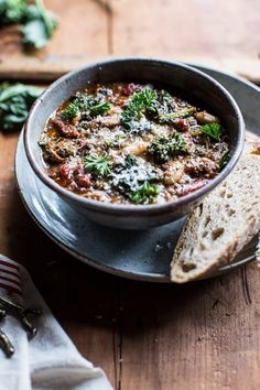 Crockpot Italian Chicken and Broccoli Rabe Chili - so simple, throw everything into a crockpot, come home to a deliciously cozy meal, @ halfbakedharvest.com
