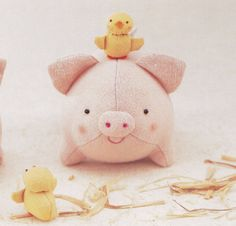 Cotton Linen Cute Pig and Chicken Plush Plushies by DollyAndPaws, $3.00