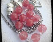 Statement Necklace / Asymmetrical/ Long Chain/ Cherry Quartz by Persicalia on Etsy, $36.00 CAD