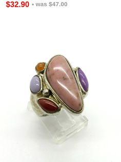 ON SALE! Vintage Sterling Silver Gemstone Ring, Rhodonite & Jasper Statement Ring, Size 7
