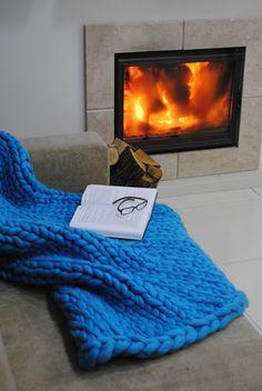 "SALE! Chunky Blanket, Throw, ""Smoosh"" Blanket, Merino Wool, Hand knit, Birthday Gifts, Knit blanket, Knit Throw, Bulky Blanket, Light Blue"