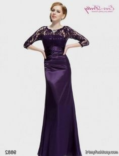 Purple Evening Gowns With Sleeves