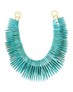 Double-Strand Graduated Spike Station Necklace, Turquoise by Kenneth Jay Lane at Neiman Marcus Last Call.