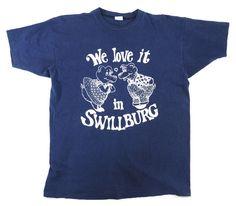 """70's バータグ チャンピオン """"SWILLBURG"""" グッドプリント! 100%コットン Tシャツ 表記(XL)"""