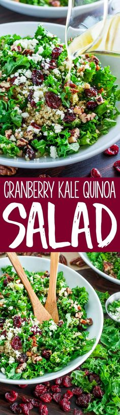 This Cranberry Kale Quinoa Salad with Candied Pecans is the perfect Fall salad! Tender kale, tart cranberries, creamy feta, and nutty quinoa are tossed in a super simple vinaigrette and topped with buttery homemade candied pecans.