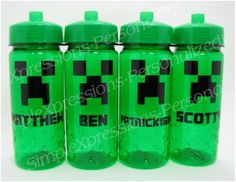 Minecraft Creeper personalized water bottle on Etsy, $7.00