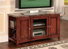 Finely Cherry Wood Faux Marble Tv Stand