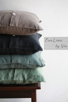 Pure Linen by Vini | Solid Linen Stone Washed Pillows | Earth