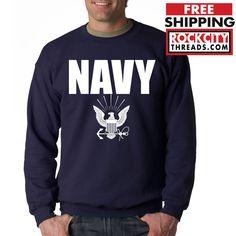 NAVY CREW NECK Military Hooded Sweatshirt Blend Seal US U.S.NAVY USNAVY USA #RockCityThreads #SweatshirtCrew