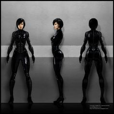 """Character design for Anita """"Serenity"""" Vasquez, including her Valkyrie armour suit."""
