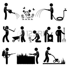 Illustration of Handyman Electrician Locksmith Contractor Working Fixing Repair House Light Roof Icon Symbol Sign Pictogram vector art, clipart and stock vectors. Vector Graphics, Vector Free, Farm Vector, Water Icon, Photo Libre, Stock Foto, Water Flowers, Symbol Logo, Stick Figures