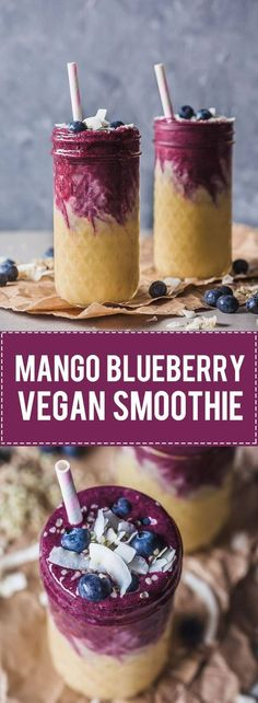 This lovely Mango Blueberry Smoothie uses frozen mango and blueberries and is perfect to maximize your nutrient intake in winter. Use dairy-free yogurt to make it vegan! #vegan #smoothie #veganrecipes #mango #blueberries