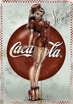 Modern Pinup prints- Cotton Sheet- Quilt Block-Applique -Vintage Coca Cola-Coca Cola Symbols-Sexy Pin-up Coca Cola Girl Coke Yes. Pinup Art, Vintage Advertisements, Vintage Ads, Vintage Posters, Pin Up Girls, Dibujos Pin Up, Coca Cola Ad, Pepsi, Coke Ad