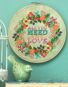 All you Need is Love Cross Stitch PDF Instant Download – Tiny Modernist Cross Stitch