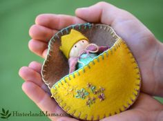 Crowned felt doll - peg doll and hand-sewn embroidered Bed. Autumn Fall colours or Spring garden flowers. Birthday or King. Australia