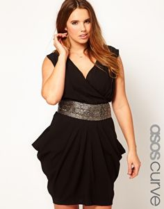 Enlarge ASOS CURVE Exclusive Drape Dress With Embellished Waist  $112.10