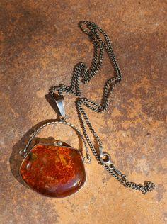 Vintage Sterling silver Baltic honey amber by FlowerOfParadise
