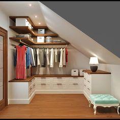 21 creative wardrobe ideas you can copy in your home : classic Dressing room by Rash_studio Attic Wardrobe, Attic Closet, Closet Bedroom, Wardrobe Ideas, Closet Ideas, Bedroom Small, Small Attic Room, Office Wardrobe, Attic Playroom
