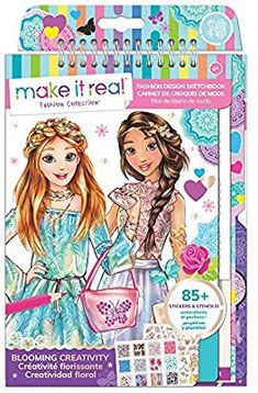 Make It Real – Fashion Design Sketchbook: Blooming Creativity. Inspirational Fashion Design Coloring Book for Girls. Includes Sketchbook, Stencils, Puffy Stickers, Foil Stickers, and Design Guide - Shoes Little Princess, Coloring Books, Coloring Pages, Christmas Presents For Kids, Christmas Ideas, Baby Doll Nursery, Barbie Coloring, Fashion Design Sketchbook, Stencils