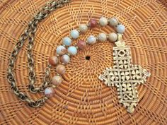 Brass Ethiopian Cross and African Opal Necklace by StoneandStem  #copticcross #ethiopiancross #handmade #bohochic