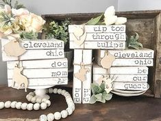 Personalized books / old book decor / books with names / hand stamped books / this is us / painted word books / book stacks Book Crafts, Diy Crafts, Paper Crafts, Farmhouse Books, Wood Wedding Signs, Lower Case Letters, Large Letters, Wood Cutouts, Painted Books
