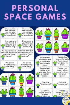 """Personal space activities for kids. Help students learn personal space with this fun game! Students will understand personal space and boundaries by practicing """"the cactus."""" Includes board game, matching game, and poster set. Teaching Social Skills, Social Emotional Learning, Student Learning, Elementary School Counselor, School Counseling, Elementary Schools, Space Activities For Kids, Preschool Activities, School Social Work"""