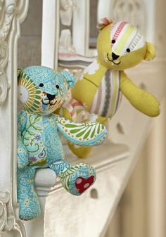 Patchwork teddy bears - so cute we had to make two! By Jo Carter. Inside issue 5 of Love Patchwork & Quilting. Photo © Love Patchwork & Quilting
