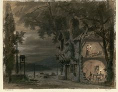 """Set design (1885), by Philippe Chaperon (1823-1906), for Act 3 of """"Rigoletto"""" (1851), by Giuseppe Verdi (1813-1901)."""