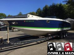 Spirited boat wrap in Avery SW900 Indigo Blue & ORAFOL 970RA Grass Green. Thx Gorilla Mad Film Wraps, www.gorillamad.com Boat Wraps, Vehicle Wraps, Car Wrap, Indigo Blue, Green Grass, Mad, Film, Vehicles, Movie