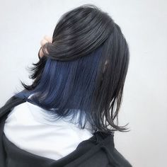 Under Hair Dye, Under Hair Color, Hidden Hair Color, Hair Color Streaks, Hair Dye Colors, Hair Highlights, Dye My Hair, Dyed Hair Blue, Blue Hair Underneath
