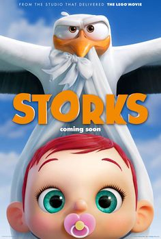 First trailer and poster for the animated film STORKS featuring the voices of Kelsey Grammer, Andy Samberg, Jordan Peele and Keegan-Michael Key. Family Movies, New Movies, Disney Movies, Movies To Watch, Movies Online, Good Movies, Andy Samberg, Streaming Hd, Streaming Movies