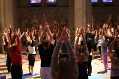 I attended this yoga and music event at Grace Cathedral in San Francisco for the first time last evening. There were hundreds of people doing yoga together and listening to incredible piano by Gary Markin. Photo courtesy of Jasper Trout Kundalini Yoga, Yoga Meditation, Yoga Chakras, Yoga For Stress Relief, Cathedral Church, Lgbt Community, How To Do Yoga, Ayurveda, San Francisco