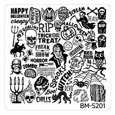 Halloween Square Nail Art Stamping Plates - BM-S201, Ghoulishly Evil