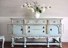 SOLD - Antique Ornate Jacobean Hand Painted French Country Shabby Chic Romantic Victorian Pastel Blue Green Aqua Buffet