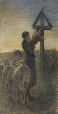 """Die intime Szene von Giovanni Segantini """"Bacio alla croce"""", um 1886 bis 1888 entstanden, 85 mal 50 Zentimeter groß, soll 200 000 bis 280 000 Franken einbringen"""