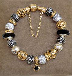 Elegant Self Styled Pandora Bracelet, seen at Pandora Shellharbour Australia.  See more are www.pandorasuperfan.com